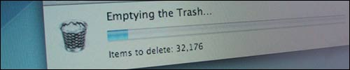 emptying the trash on my old laptop