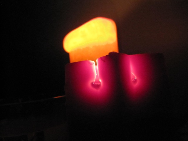 candles in a dark room